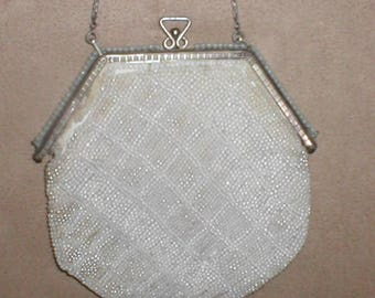 RARE 1800's Antique Beaded Evening Purse with Sterling Silver Frame