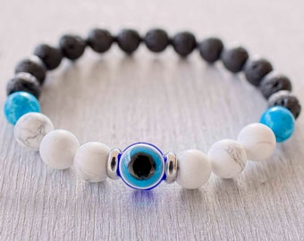 Mens evil eye bracelet mala Mens wrist beaded bracelet Men mala beads Black lava, Howlite, Turquoise Good luck bracelet Protection bracelet