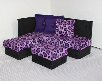 Playscale / 1:6 Scale  Fashion Doll Furniture for Barbie / Monster High - Purple Cheetah Sectional Sofa