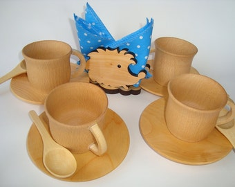 Tea set (17ps) for kids play. Kids food play. Kids teatime set & Wooden dishes | Etsy