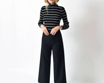 13 Button Black Seafarer Trousers Vintage Flared Wool Sailor Pants Navy High Waist Military 27 28 S M