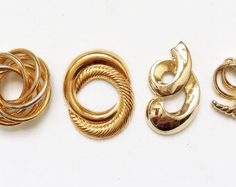 recycled vintage gold tone metal earring components for creating ooak designs//assemblage items--mixed lot of 4