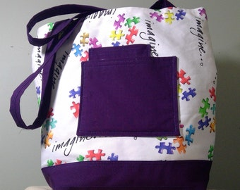 AUTISM AWARENESS Tote Bag Purple Puzzle Pieces  Book Bag Handbag Purse Gym Bag Shoulder Bag Washable Large Sturdy Handcrafted