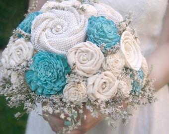 Rustic Flower Bouquet - Blue Aqua // Aqua Blue, Wedding Bouquet, Dried Flowers, Bridal Bouquet, Sola Flowers, Burlap Bouquet, Bridal Flowers