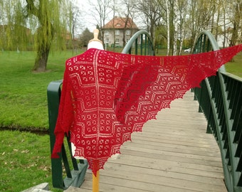 Beaded Millefiori shawl, hand knitted lace shawl with hematite beads