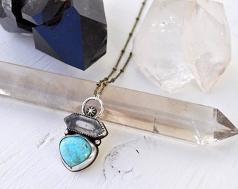 Sky People Collection | Turquoise x Tibetan Quartz x Brass x Sterling Silver | Morning Star Necklace IV