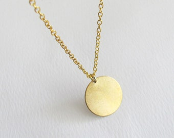Gold Coin Necklace, Dainty Necklace, Small Necklace, Thin Necklace, Bridesmaid Necklace, Simple Necklace, Bridesmaid Gift