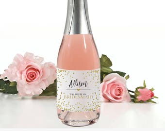Mini Champagne Label Bridesmaid and Maid of Honor Favors