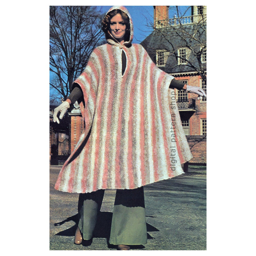 Poncho Knitting Pattern Vintage Hooded Poncho Pattern Womens Striped ...