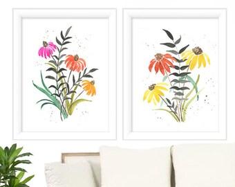 Print Set of 2 - Botanical Print Set - Watercolor Prints - Botanical Print Set - Watercolor Floral Painting- Watercolor Floral  Prints