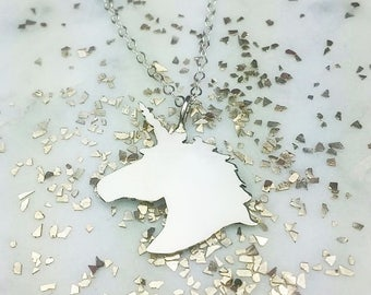 Unicorn magic necklace horse princess little girl sterling silver gold filled rose gold filled unicorn silhouette