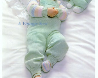 Baby 4 ply Jumper Dungarees and Bootees sizes18 - 20 ins - Phildar 8707 - PDF of a Vintage Knitting Pattern - Instant Download