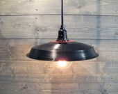 Black Pendant Light Vinyl Record Industrial Barn Shade - Upcycled Plastic Ceiling Light - Ceiling Mount Fixture