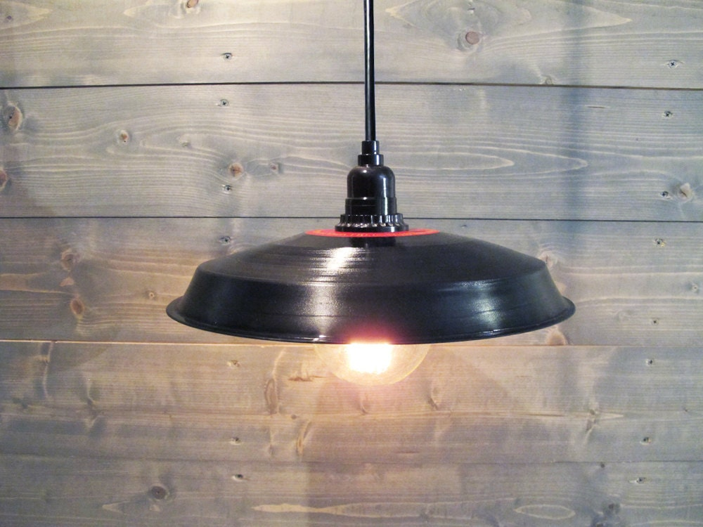 Beautiful Black Pendant Light Vinyl Record Industrial Barn Shade - Upcycled  WE26