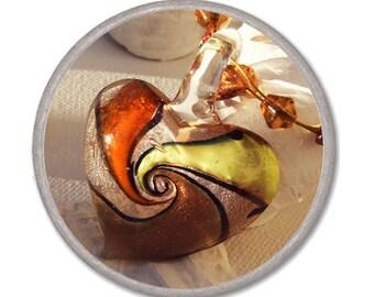 YELLOW LAMPWORK HEART necklace - glass heart pendant - Jewelry Necklace Glass - short romantic necklace elegant bijouterie Valentine's gift
