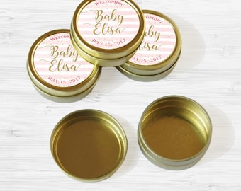 Personalized Baby Shower Favor Tins - Gold Pink and Gold Favor Tins - Mint Tin - Gold Mint Tin Favors - Gold Tin Mints - Welcome Baby