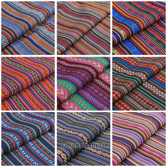 Colorful Stripe Cotton Fabric Yarn Dye Fabric BOHO Bohemian Tribal Bag Chair  Cushion Fabric  Fabric 1/2 Yard From Fabricmade On Etsy Studio