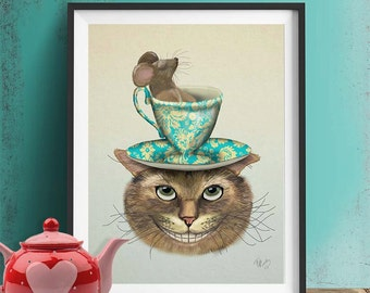 Alice in Wonderland Print - Cheshire Cat & Cup  - cheshire cat art cheshire cat poster cheshire cat smile alice in wonderland decor
