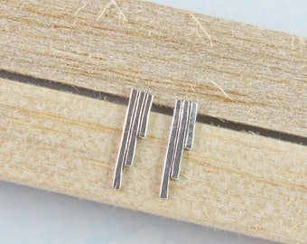 Sterling Silver Studs, Bar Earrings, Geometric Earrings, Simple Studs, Silver Jewellery, Minimal Silver Studs, Delicate Stud Earrings