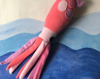 Coral Squid Plush, Squid Toy, Humboldt Squid