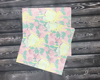 Vintage Pink Floral Wedding Bells Wrapping Paper Gift Wrap Scrapbook Paper 20 x 30 2 Sheets