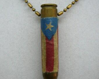 Vintage Trench Art Empty Cartridge Pendant USA Emblem