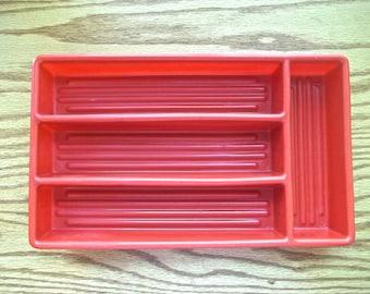 Vintage Plastic Silverware Tray, Vintage Silverware Tray, Camping Accessories, Vintage Camper, Utensil Holder, Kitchen Drawer Organizer