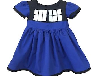 Dr. Who Tardis Police Box TV Girls Toddler Dress Comic ComicCon
