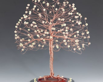 Tree Cake Topper with Swarovski Crystal Elements Silk and Jonquil on Silver Gold or Copper Tone Wire Cream Ivory Yellow