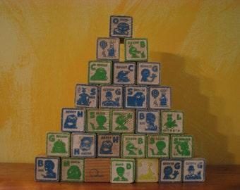 Vintage set of 28 Wooden Children's Blocks