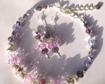 Crystal Beaded Necklace, Crystal Beaded Earrings, Purple Necklace and Earring Set, Mother's Day Gift