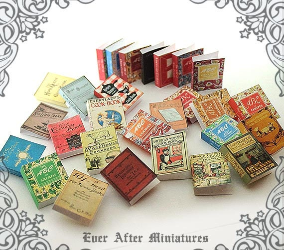 28 VINTAGE COOKBOOK Dollhouse Miniature Book Cover Set #8