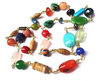Made to Order: Every day Nacklace, Wire Wrapped Assorted Beads Mix Match With Any Leather cord Pendant, Women Jewelry