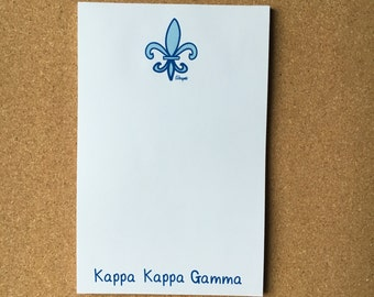 Kappa Kappa Gamma Fleur De Lis  Sorority Notepad Officially Licensed