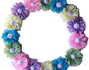 Floral Easter Wreath, Spring Yarn Wreath, Flower Door Decor, Pastel Purple, Green, Yellow, Pink, Blue