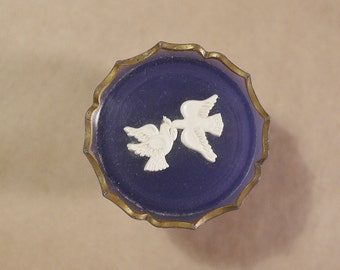 Vintage Blue Little Trinket with Two (2) Doves