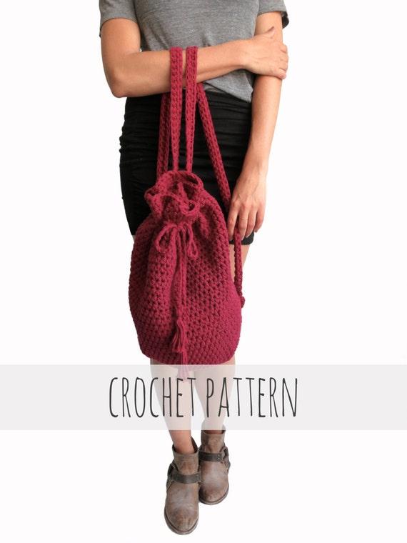 Pattern For Crochet Backpack Drawstring Mini Hipster Boho
