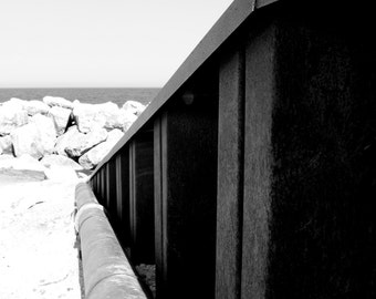 Black and White Leading Line Rocks Klode Park Beach Lake Michigan Milwaukee Art Photo Print Home Wall Decor by Rose Clearfield on Etsy