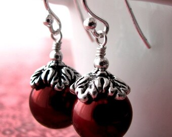 Cranberry Red Glass Pearl Earrings, Antiqued Silver - Christmas Holiday Jewelry, Valentine's Day Jewelry, Winter Wedding Bridesmaid Earrings