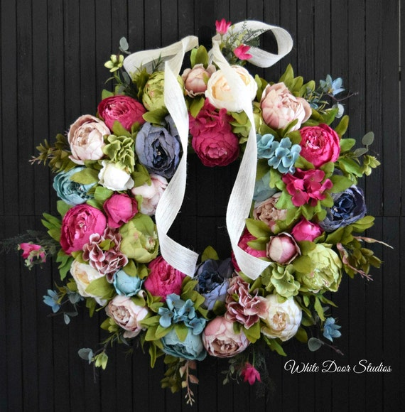 Mixed Peony Spring and Summer Front Door Wreath