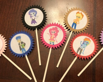 My Little Pony Equestria Girls Cupcake Toppers, equestria Birthday Party, pony cupcake topper, equestria cake topper, my little pony