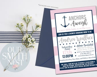 Anchors Aweigh Baby Shower Invitation, Customizable Digital Prints, Natuical, Baby Shower, Navy and Pink