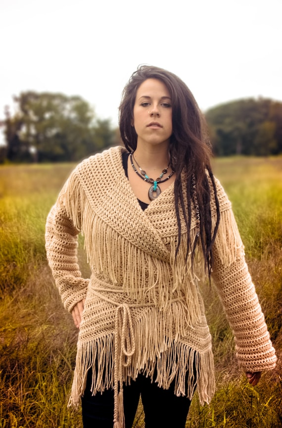 Circle Wrap Sweater, Native American sweater, indian sweater, boho sweater, boho top, bohemian sweater, wrap top, Crochet, fringe, mountain