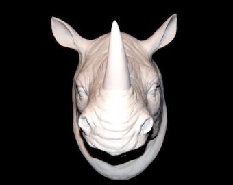 BACK ORDER - Rhino Head - White Rhino Head Wall Mount - Rhinoceros Faux Taxidermy - African Safari Wall Decor - RH01