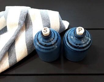 Sel & poivre – poterie salières et poivrières, lot de 2, céramique, grès, fait à la main, au tour