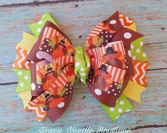Turkey hair bow, Turkey hair clip, Thanksgiving hair bow, Thanksgiving hair clip, Fall hair bow, Fall hair clip, Fall headband, hair bow