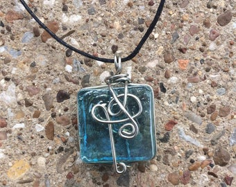 Wire Wrapped Blue Glass Square Pendant // Silver Colored Wire // adjustable cord // gift for her // women's necklace // birthday // music