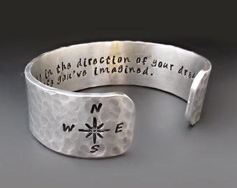 Go Confidently - Direction of Your Dreams Silver Cuff Bracelet / Follow Your Dreams / Thoreau / Compass Rose Bracelet / Graduation Gift