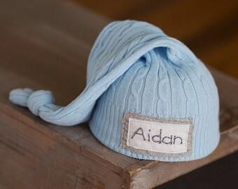 Newborn Name Hat, Personalized Newborn Hat, Newborn Boy Hat, Newborn Photo Prop, Newborn Hats, Light Blue Newborn Hat, Knot Hat, Coming Home