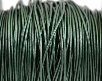1mm Metallic Ocean Green Leather Cord Round